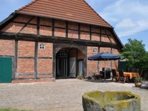 Sonnige, windgeschützte Terrasse mit Gartenmöbeln und großem Gasgrill